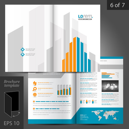 DESIGN: White brochure template design with orange and blue building elements. Cover layout Illustration