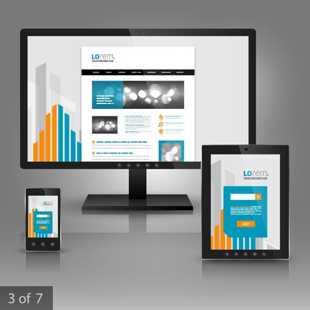 mobile business: White application template design for corporate identity with orange and blue building elements. Stationery set Illustration