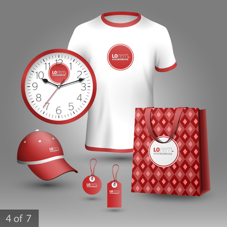 souvenirs: Red classic promotional souvenirs design for corporate identity with geometric pattern. Stationery set Illustration