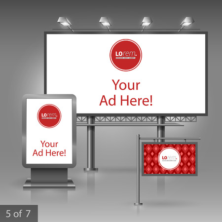 outdoor advertising: Red classic outdoor advertising design for corporate identity with geometric pattern. Stationery set