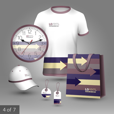 souvenirs: Promotional souvenirs design for corporate identity with purple, yellow and brown arrows. Stationery set