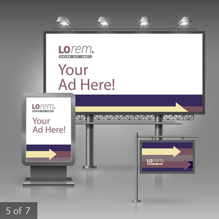 outdoor advertising: Outdoor advertising design for corporate identity with purple, yellow and brown arrows. Stationery set