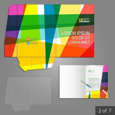carpetas: Diseño de la plantilla de carpeta creativa de la identidad corporativa con elementos de arte color. Conjunto del papel