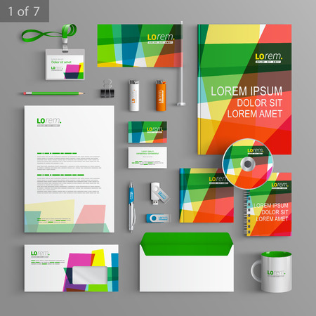 Creative corporate identity template design with color art elements. Business stationery Ilustração