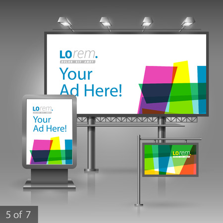 publicity: Creative outdoor advertising design for corporate identity with color art elements. Stationery set