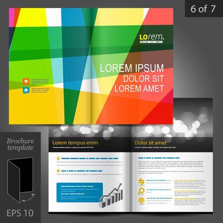 color design: Creative brochure template design with color art elements. Cover layout Illustration