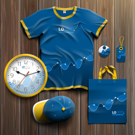souvenirs: Financial promotional souvenirs design for corporate identity with blue chart. Stationery set