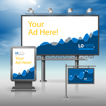 Financial outdoor advertising design for corporate identity with blue chart. Stationery set
