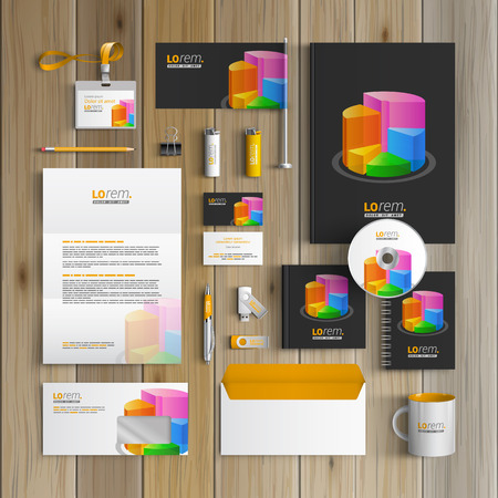 Black financial corporate identity template design with color chart. Business stationery