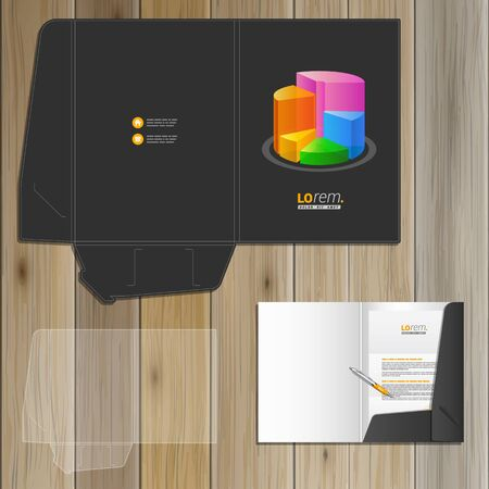 color chart: Black financial folder template design for corporate identity with color chart. Stationery set Illustration