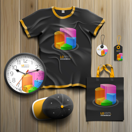 color chart: Black financial promotional souvenirs design for corporate identity with color chart. Stationery set