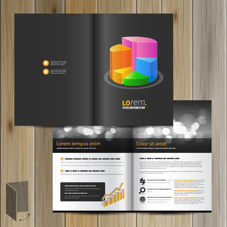color chart: Black financial brochure template design with color chart. Cover layout