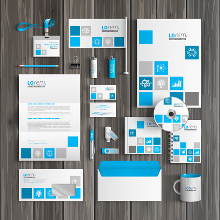 stationery: White corporate identity template design with blue economic icons. Business stationery