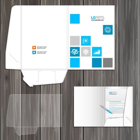 folder icons: White folder template design for corporate identity with blue economic icons. Stationery set Illustration