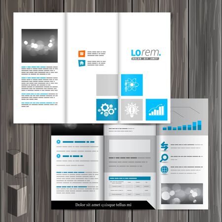 economic: White brochure template design with blue economic icons. Cover layout Illustration
