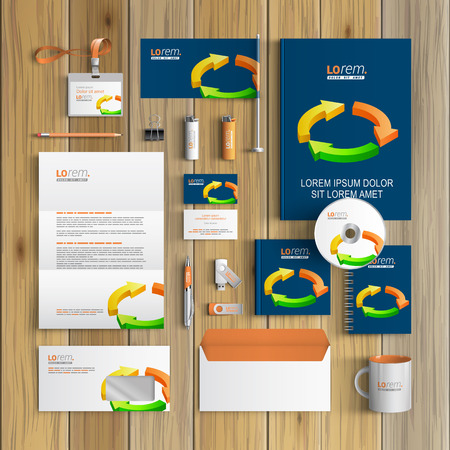 identity template: Blue corporate identity template design with color arrows. Business stationery