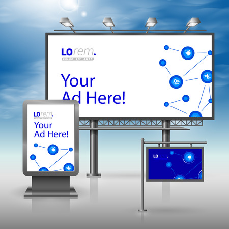 outdoor advertising: Blue outdoor advertising design for corporate identity with white economic icons. Stationery set Illustration