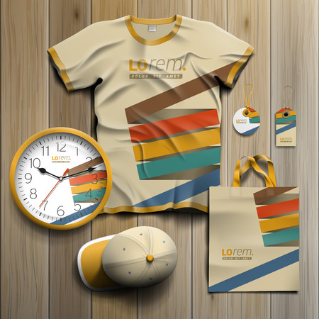 Promotional souvenirs design for corporate identity with color stripes. Stationery set