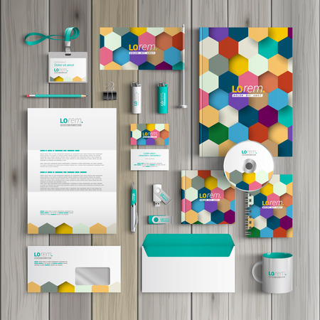 corporate identity template: Color corporate identity template design with honeycomb. Business stationery Illustration