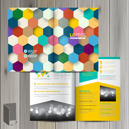 catalog templates: Color brochure template design with honeycomb. Cover layout