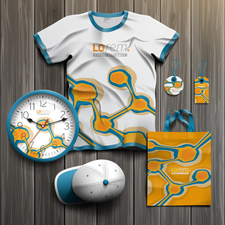 business shirts: Orange promotional souvenirs design for corporate identity with blue art elements. Stationery set Illustration