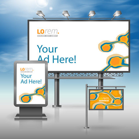 outdoor advertising: Orange outdoor advertising design for corporate identity with blue art elements. Stationery set