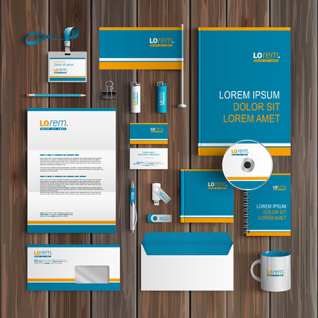 Blue corporate identity template design with orange lines. Business stationery