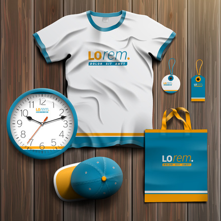 souvenirs: Blue promotional souvenirs design for corporate identity with orange lines. Stationery set Illustration