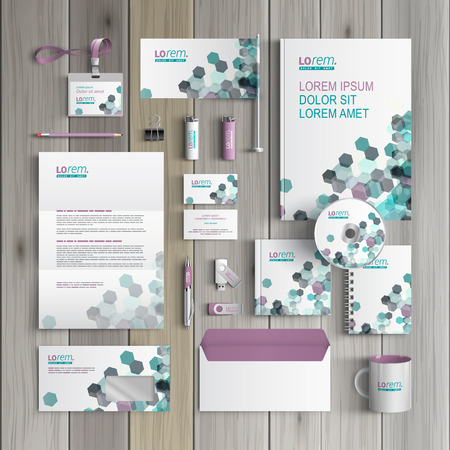 brands: White corporate identity template design with gray and green geometric elements. Business stationery