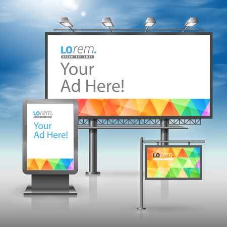 Color outdoor advertising design for corporate identity with triangular pattern. Stationery set