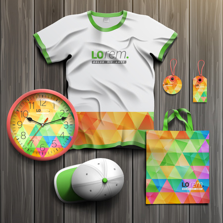 souvenirs: Color promotional souvenirs design for corporate identity with triangular pattern. Stationery set