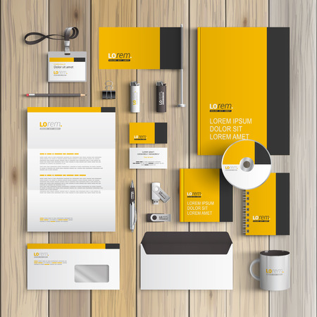 Classic yellow corporate identity template design with black vertical line. Business stationery