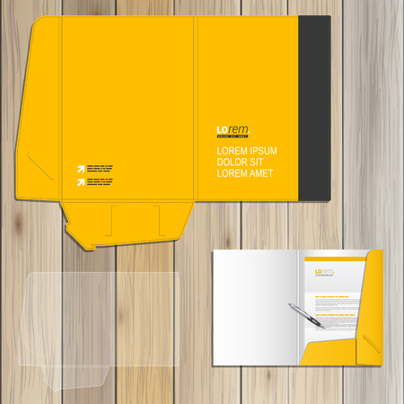 yellow line: Classic yellow folder template design for corporate identity with black vertical line. Stationery set Illustration