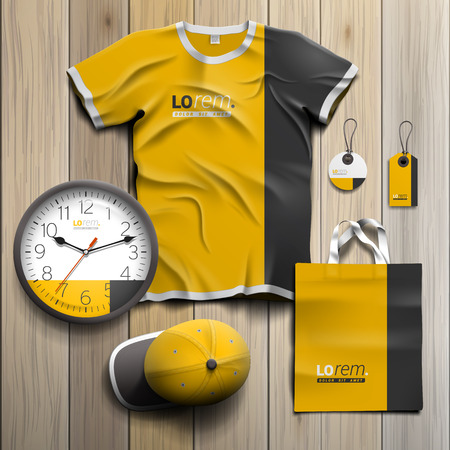 souvenirs: Classic yellow promotional souvenirs design for corporate identity with black vertical line. Stationery set Illustration