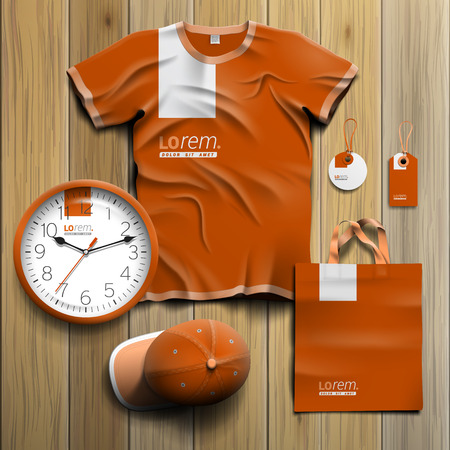 souvenirs: Classic orange promotional souvenirs design for corporate identity with white element. Stationery set Illustration