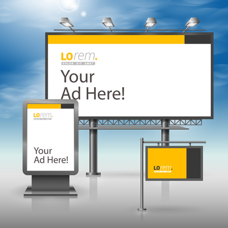 outdoor advertising: Classic yellow outdoor advertising design for corporate identity with black vertical line. Stationery set Illustration