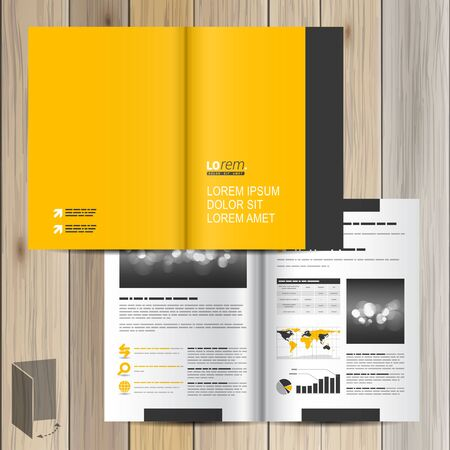 yellow line: Classic yellow brochure template design with black vertical line. Cover layout