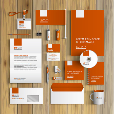 stationary set: Classic orange corporate identity template design with white element. Business stationery