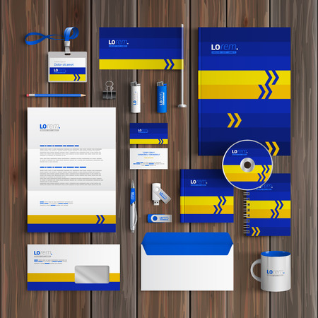 corporate identity template: Blue corporate identity template design with yellow arrows. Business stationery Illustration