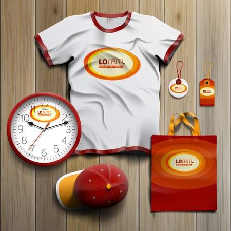 souvenirs: Red promotional souvenirs design for corporate identity with yellow round elements. Stationery set