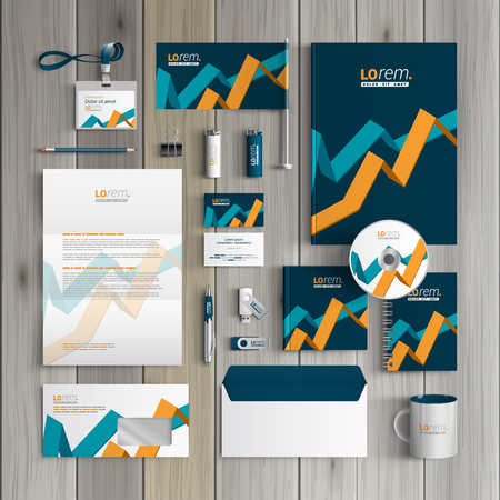 corporate identity template: Blue financial corporate identity template design with diagram elements. Business stationery Illustration