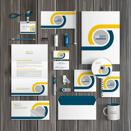 White classic corporate identity template design with blue and yellow geometric elements. Business stationery