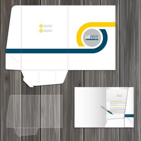 carpetas: Blanco diseño de la plantilla de carpeta clásico para la identidad corporativa con elementos geométricos azules y amarillos. montaje de papelería Vectores