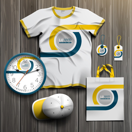 tshirt: White classic promotional souvenirs design for corporate identity with blue and yellow geometric elements. Stationery set Illustration