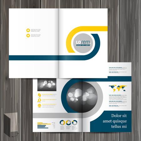 carpetas: Diseño clásico negro plantilla de folleto con elementos geométricos azules y amarillos. Diseño de la cubierta