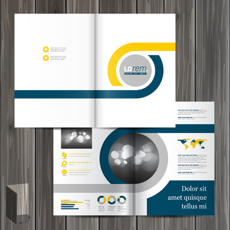 layout: White classic brochure template design with blue and yellow geometric elements. Cover layout