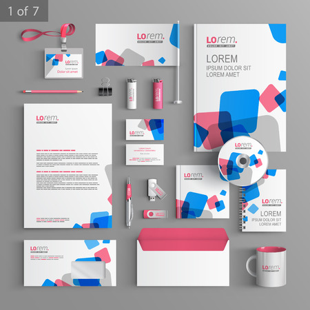 White stationery template design with blue and red square elements. Documentation for business.