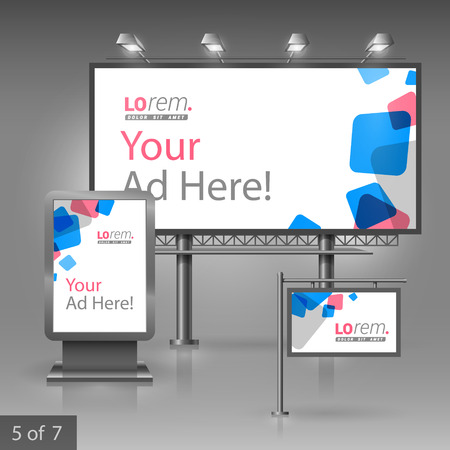 outdoor advertising: White outdoor advertising design for company with blue and red square figures. Elements of stationery. Illustration