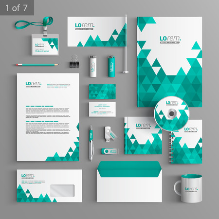 stationary set: White stationery template design with green triangles. Documentation for business.