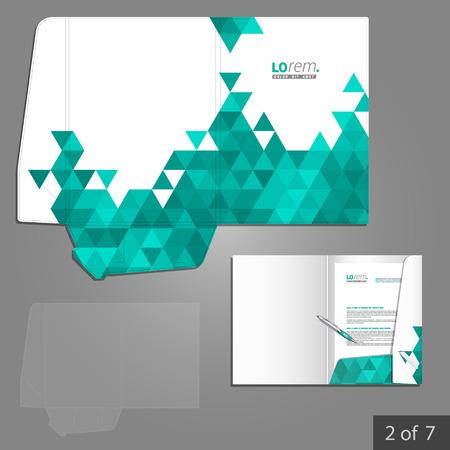 carpetas: Diseño de la plantilla de carpeta blanca de la empresa con triángulos verdes. Elemento de artículos de papelería.